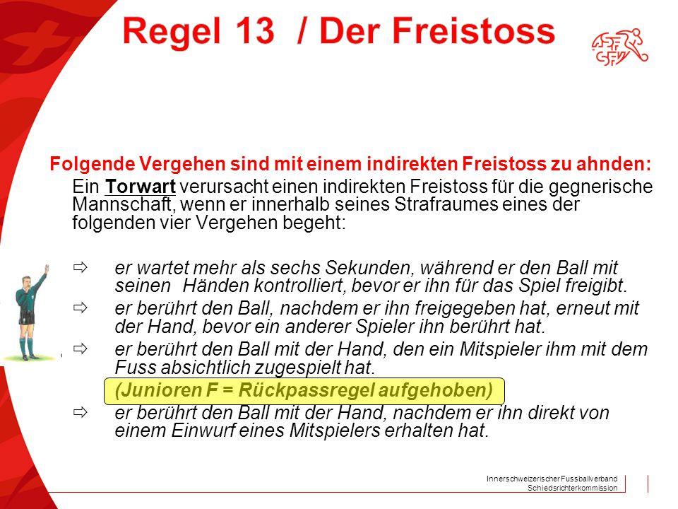 Innerschweizerischer Fussballverband Schiedsrichterkommission Folgende Vergehen sind mit einem indirekten Freistoss zu ahnden: Ein Torwart verursacht