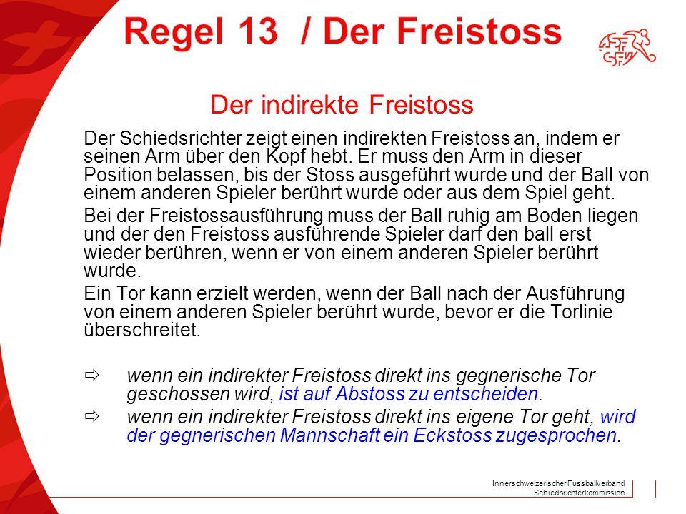 Innerschweizerischer Fussballverband Schiedsrichterkommission Der Schiedsrichter zeigt einen indirekten Freistoss an, indem er seinen Arm über den Kop