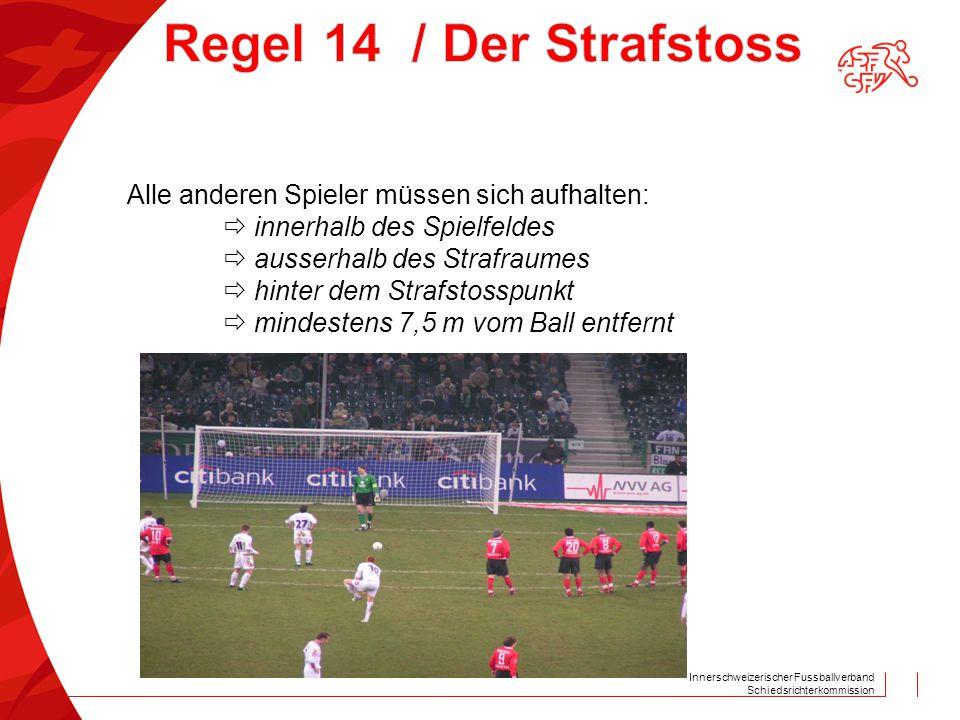 Innerschweizerischer Fussballverband Schiedsrichterkommission Alle anderen Spieler müssen sich aufhalten:  innerhalb des Spielfeldes  ausserhalb des