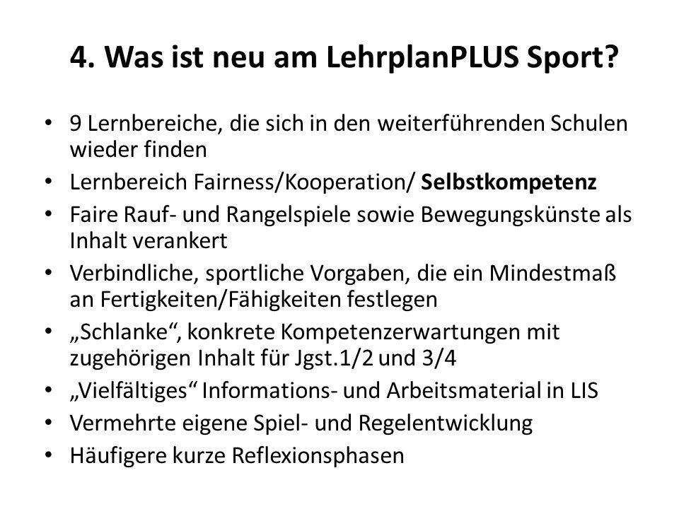 4.Was ist neu am LehrplanPLUS Sport.