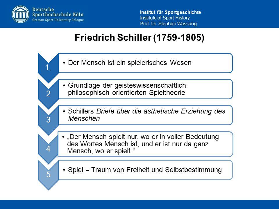 Institut für Sportgeschichte Institute of Sport History Prof. Dr. Stephan Wassong Friedrich Schiller (1759-1805) 1. Der Mensch ist ein spielerisches W