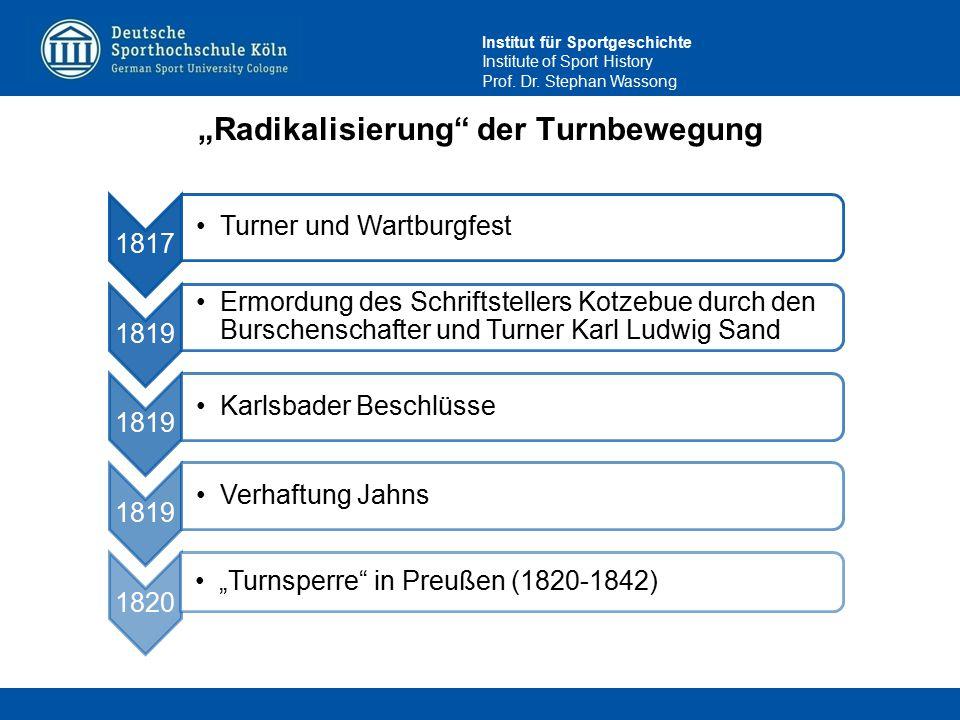 """Institut für Sportgeschichte Institute of Sport History Prof. Dr. Stephan Wassong """"Radikalisierung"""" der Turnbewegung 1817 Turner und Wartburgfest 1819"""