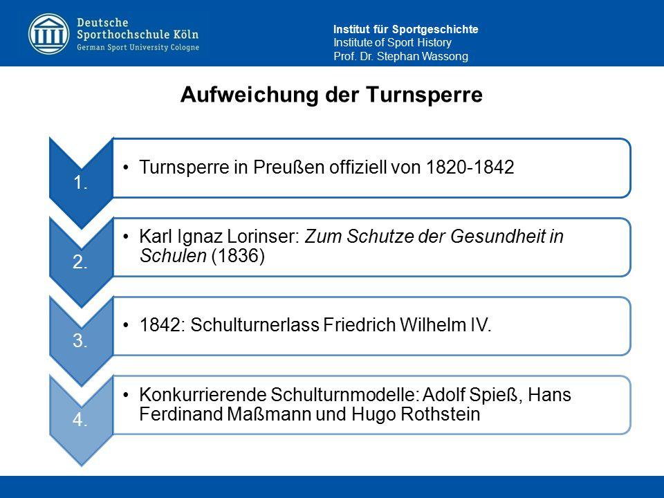 Institut für Sportgeschichte Institute of Sport History Prof. Dr. Stephan Wassong Aufweichung der Turnsperre 1. Turnsperre in Preußen offiziell von 18