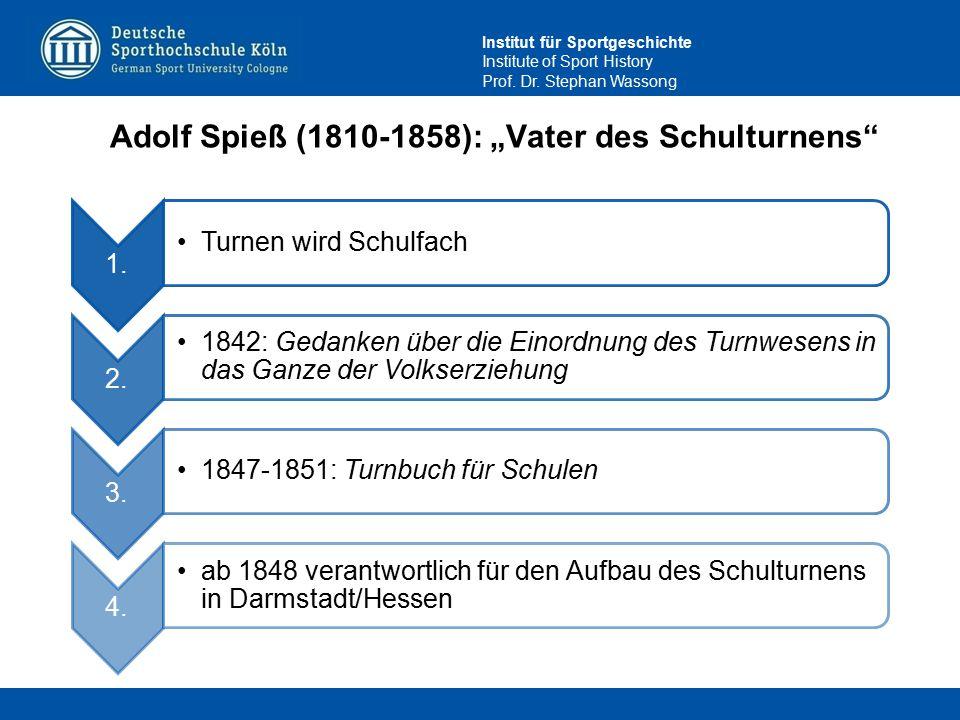"""Institut für Sportgeschichte Institute of Sport History Prof. Dr. Stephan Wassong Adolf Spieß (1810-1858): """"Vater des Schulturnens"""" 1. Turnen wird Sch"""