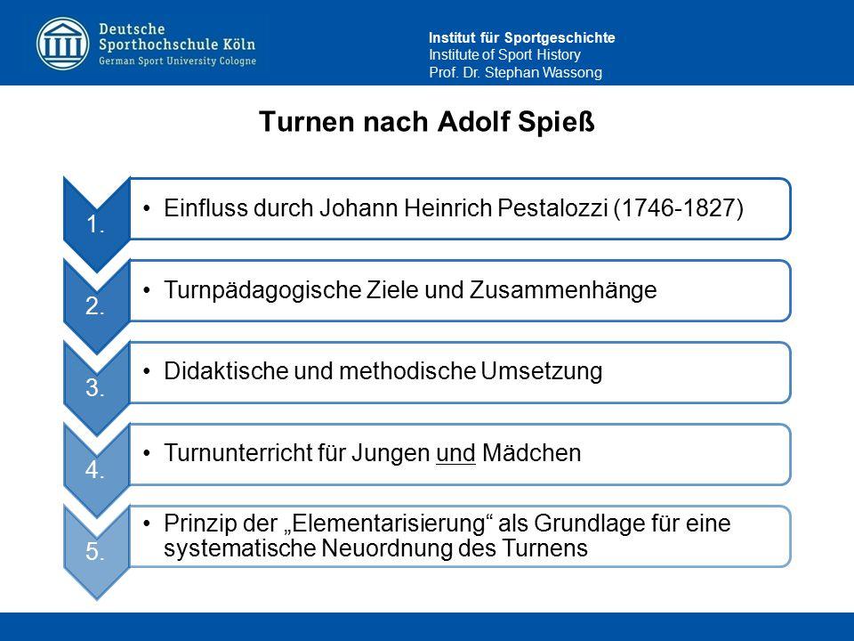 Institut für Sportgeschichte Institute of Sport History Prof. Dr. Stephan Wassong Turnen nach Adolf Spieß 1. Einfluss durch Johann Heinrich Pestalozzi