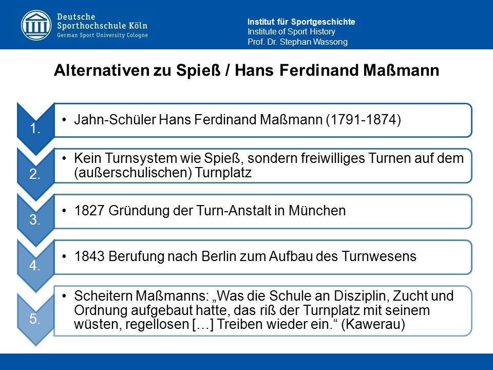 Institut für Sportgeschichte Institute of Sport History Prof. Dr. Stephan Wassong Alternativen zu Spieß / Hans Ferdinand Maßmann 1. Jahn-Schüler Hans