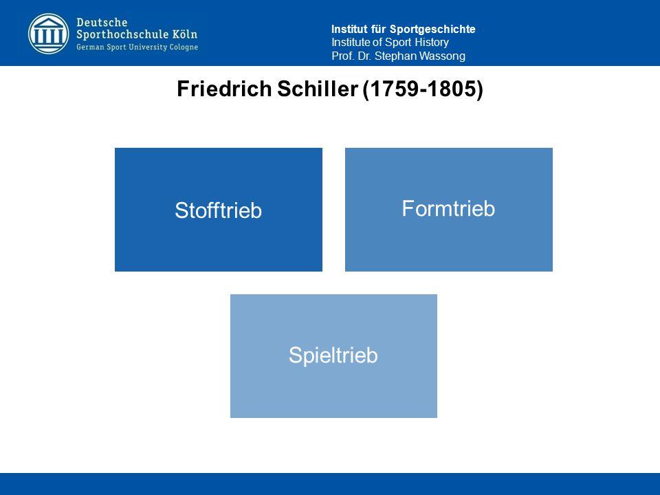 Institut für Sportgeschichte Institute of Sport History Prof. Dr. Stephan Wassong Friedrich Schiller (1759-1805) Stofftrieb Formtrieb Spieltrieb