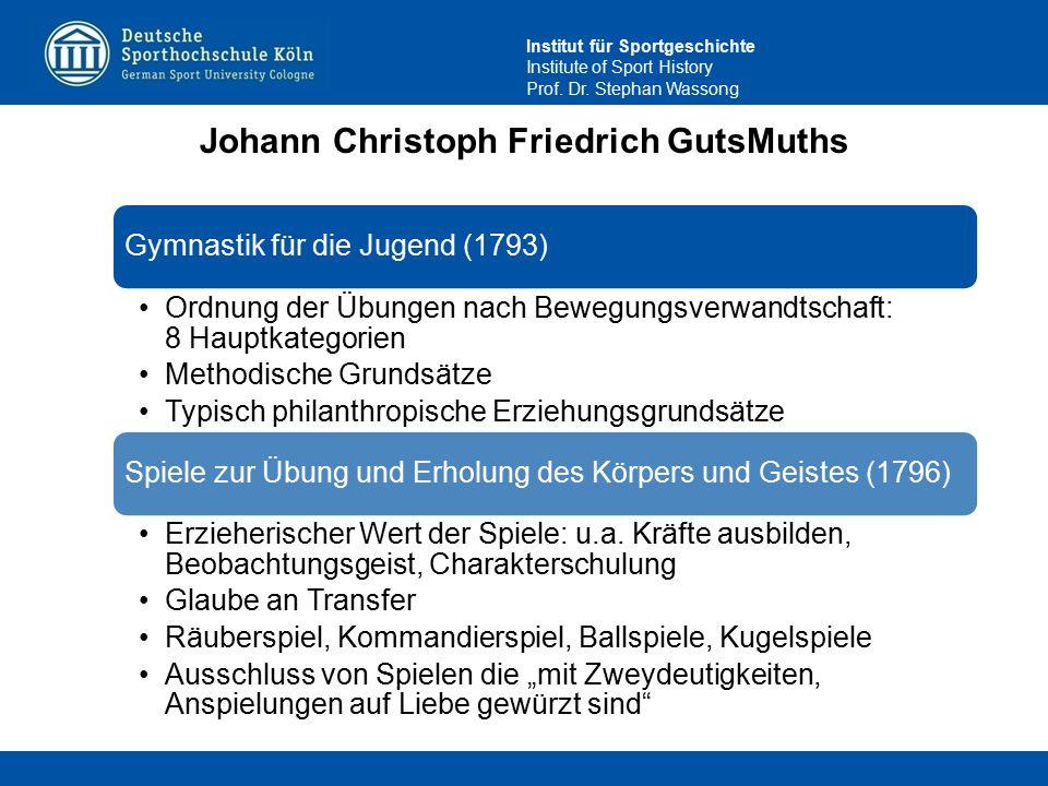 Institut für Sportgeschichte Institute of Sport History Prof. Dr. Stephan Wassong Johann Christoph Friedrich GutsMuths Gymnastik für die Jugend (1793)