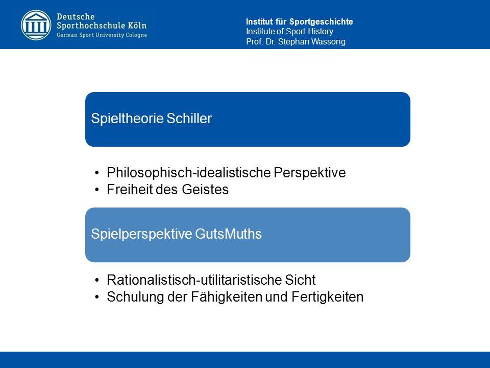 Institut für Sportgeschichte Institute of Sport History Prof. Dr. Stephan Wassong Spieltheorie Schiller Philosophisch-idealistische Perspektive Freihe