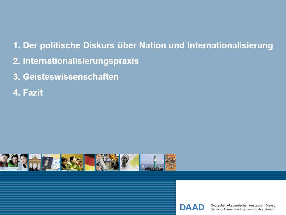 1. Der politische Diskurs über Nation und Internationalisierung 2. Internationalisierungspraxis 3. Geisteswissenschaften 4. Fazit
