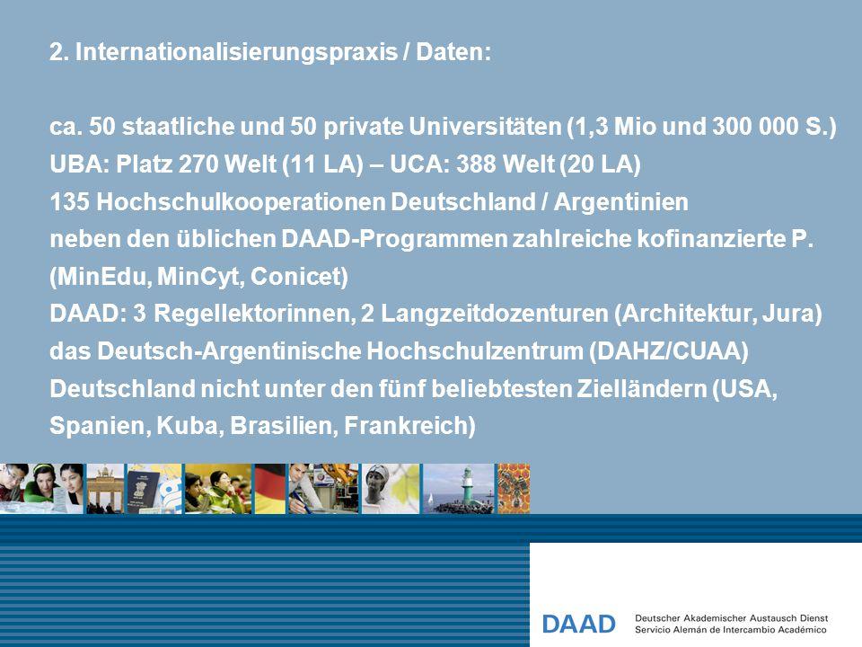2. Internationalisierungspraxis / Daten: ca. 50 staatliche und 50 private Universitäten (1,3 Mio und 300 000 S.) UBA: Platz 270 Welt (11 LA) – UCA: 38