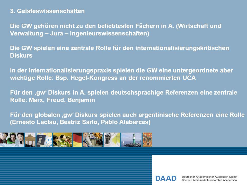 3. Geisteswissenschaften Die GW gehören nicht zu den beliebtesten Fächern in A. (Wirtschaft und Verwaltung – Jura – Ingenieurswissenschaften) Die GW s