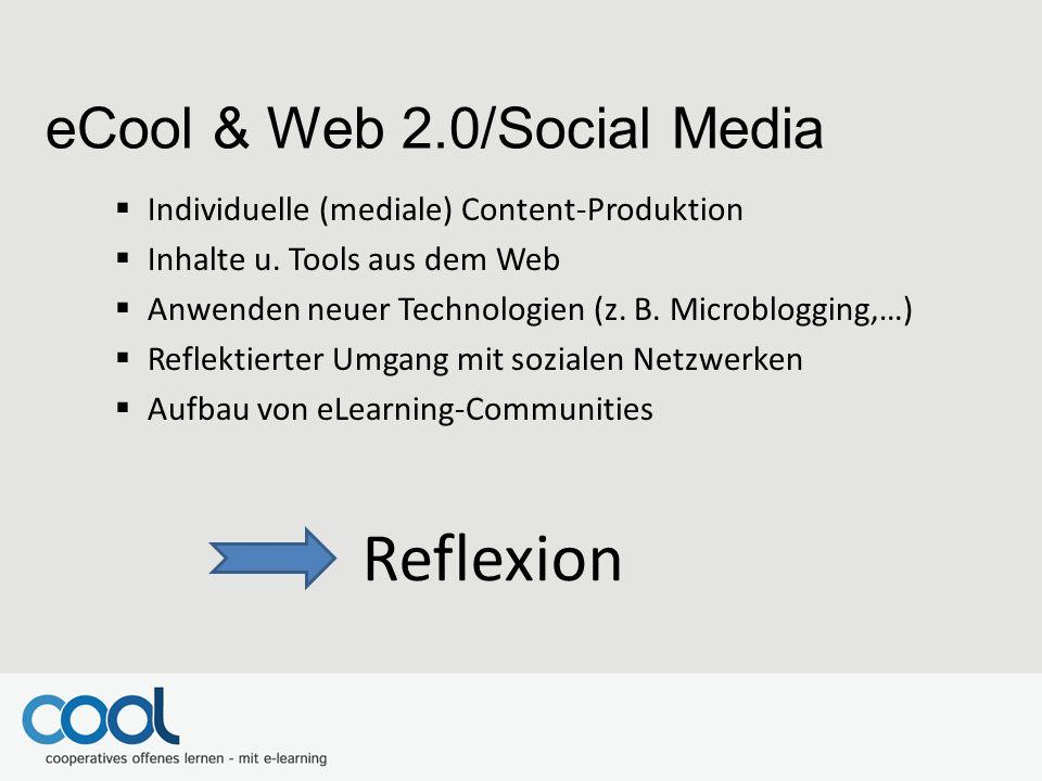 Individuelle (mediale) Content-Produktion  Inhalte u. Tools aus dem Web  Anwenden neuer Technologien (z. B. Microblogging,…)  Reflektierter Umgan