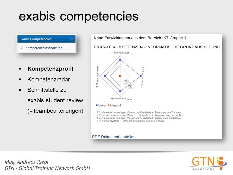exabis competencies  Kompetenzprofil  Kompetenzradar  Schnittstelle zu exabis student review (=Teambeurteilungen)