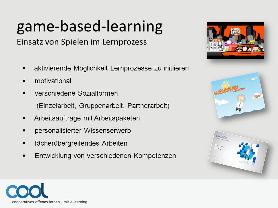 game-based-learning Einsatz von Spielen im Lernprozess  aktivierende Möglichkeit Lernprozesse zu initiieren  motivational  verschiedene Sozialforme