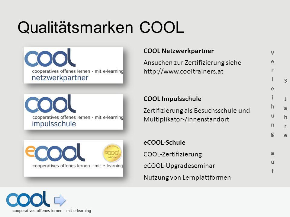 Qualitätsmarken COOL COOL Netzwerkpartner Ansuchen zur Zertifizierung siehe http://www.cooltrainers.at COOL Impulsschule Zertifizierung als Besuchssch