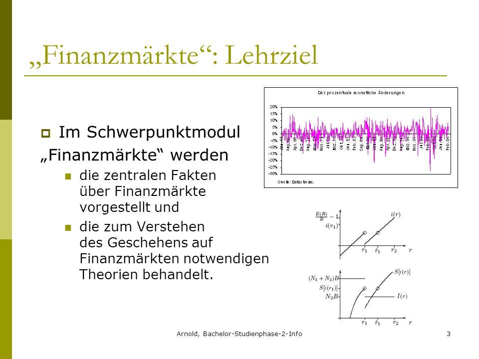 """Arnold, Bachelor-Studienphase-2-Info3 """"Finanzmärkte : Lehrziel  Im Schwerpunktmodul """"Finanzmärkte werden die zentralen Fakten über Finanzmärkte vorgestellt und die zum Verstehen des Geschehens auf Finanzmärkten notwendigen Theorien behandelt."""
