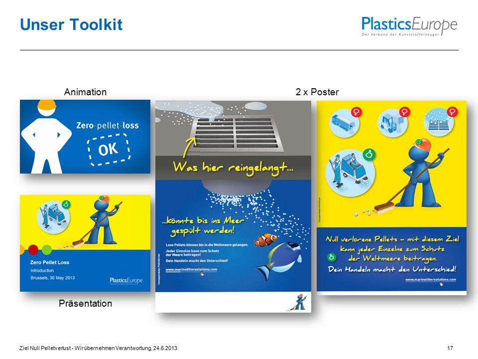 Unser Toolkit 2 x PosterAnimation Präsentation Ziel Null Pelletverlust - Wir übernehmen Verantwortung, 24.6.201317
