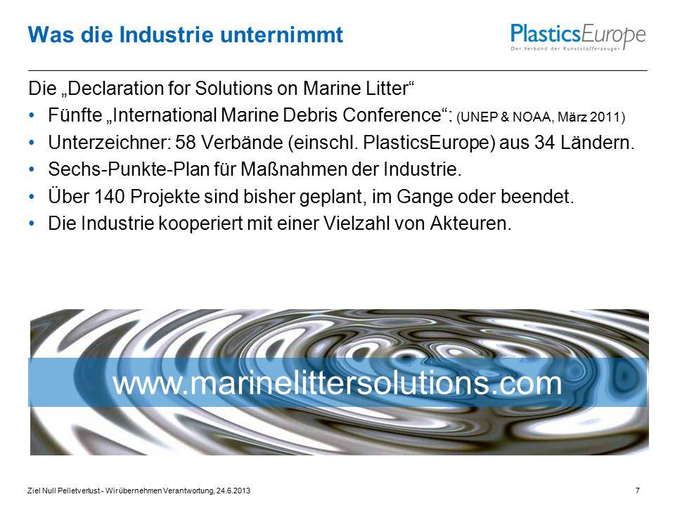 """Was die Industrie unternimmt Die """"Declaration for Solutions on Marine Litter"""" Fünfte """"International Marine Debris Conference"""": (UNEP & NOAA, März 2011"""