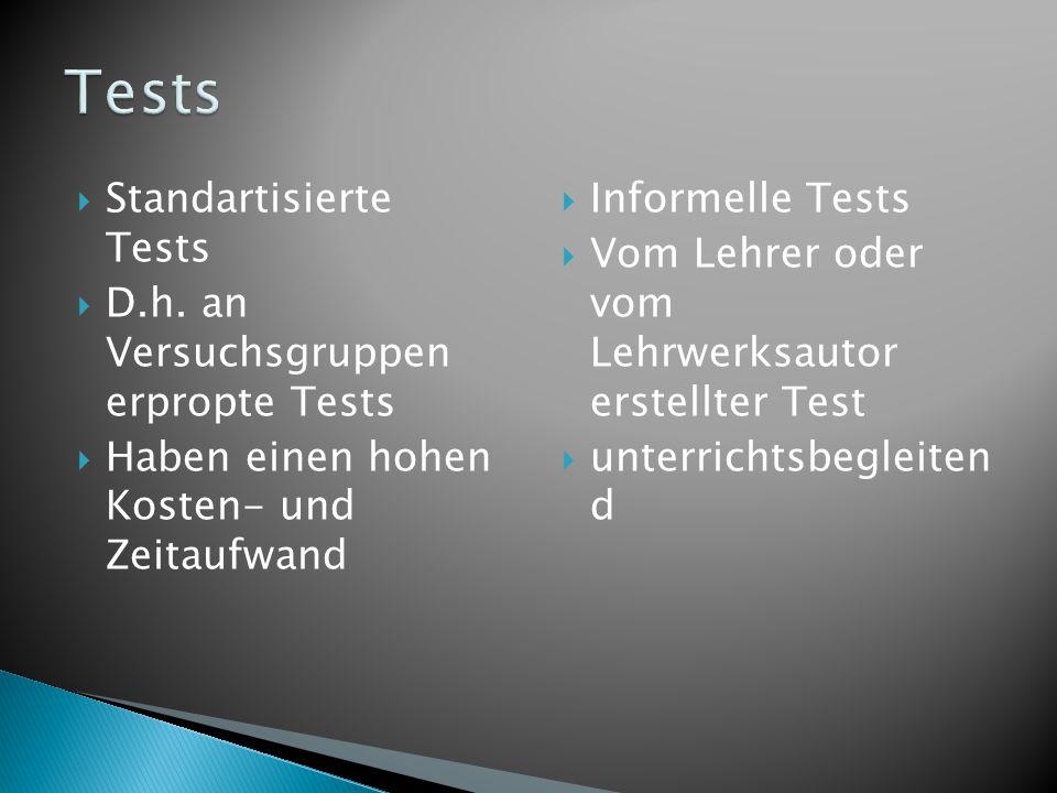  Standartisierte Tests  D.h. an Versuchsgruppen erpropte Tests  Haben einen hohen Kosten- und Zeitaufwand  Informelle Tests  Vom Lehrer oder vom