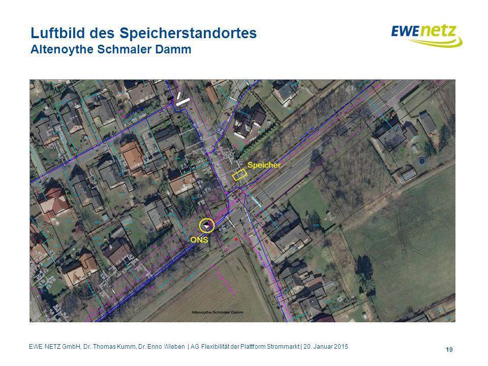 Luftbild des Speicherstandortes Altenoythe Schmaler Damm 19 EWE NETZ GmbH, Dr. Thomas Kumm, Dr. Enno Wieben | AG Flexibilität der Plattform Strommarkt