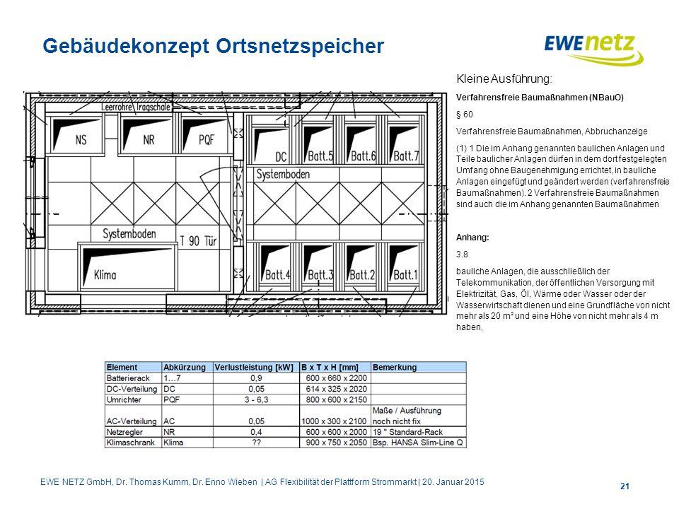 Gebäudekonzept Ortsnetzspeicher 21 Kleine Ausführung: Verfahrensfreie Baumaßnahmen (NBauO) § 60 Verfahrensfreie Baumaßnahmen, Abbruchanzeige (1) 1 Die
