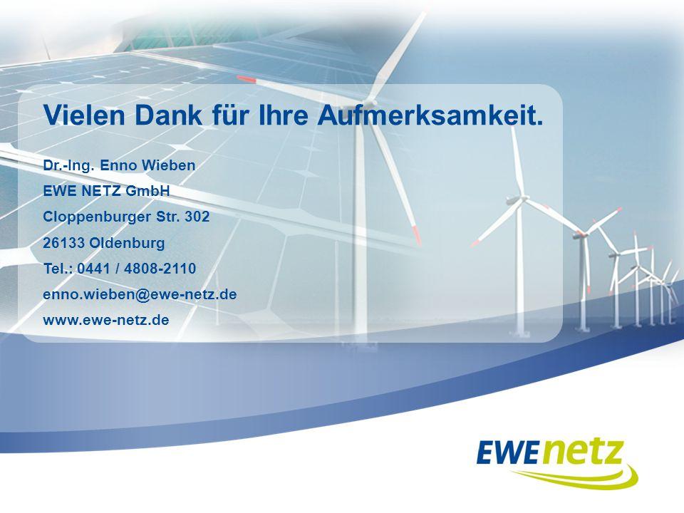 Vielen Dank für Ihre Aufmerksamkeit. Dr.-Ing. Enno Wieben EWE NETZ GmbH Cloppenburger Str. 302 26133 Oldenburg Tel.: 0441 / 4808-2110 enno.wieben@ewe-