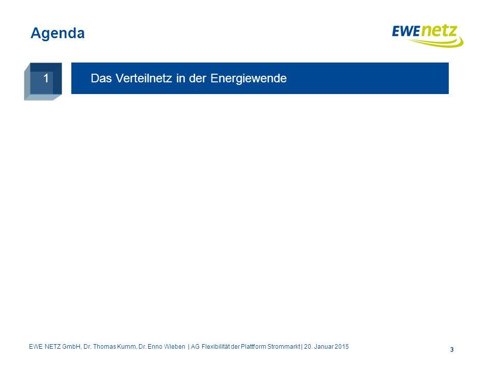 33 Agenda Das Verteilnetz in der Energiewende 1 EWE NETZ GmbH, Dr. Thomas Kumm, Dr. Enno Wieben | AG Flexibilität der Plattform Strommarkt | 20. Janua