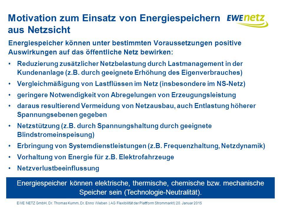 Motivation zum Einsatz von Energiespeichern aus Netzsicht Energiespeicher können unter bestimmten Voraussetzungen positive Auswirkungen auf das öffentliche Netz bewirken: Reduzierung zusätzlicher Netzbelastung durch Lastmanagement in der Kundenanlage (z.B.
