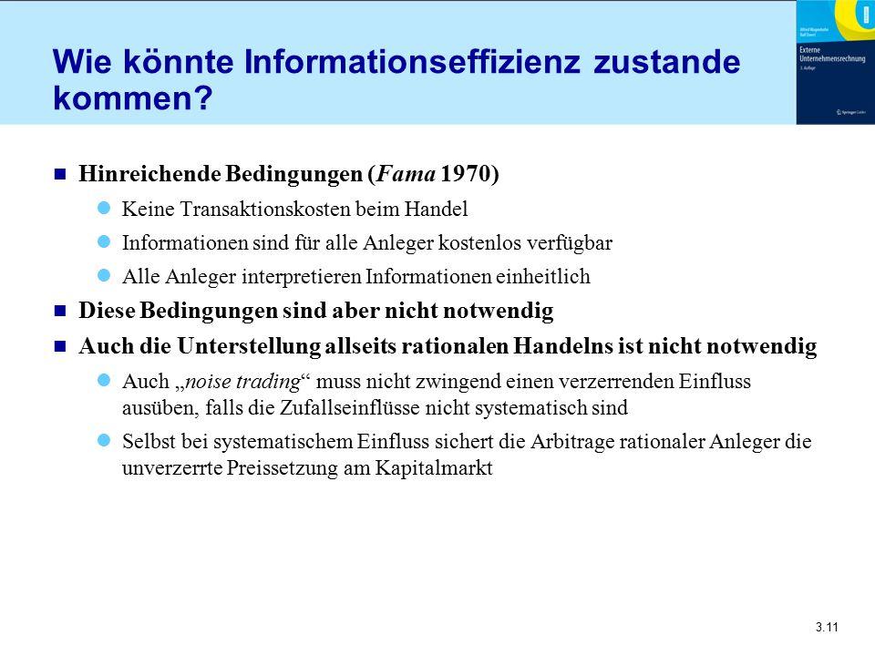 3.11 Wie könnte Informationseffizienz zustande kommen? n Hinreichende Bedingungen (Fama 1970) Keine Transaktionskosten beim Handel Informationen sind