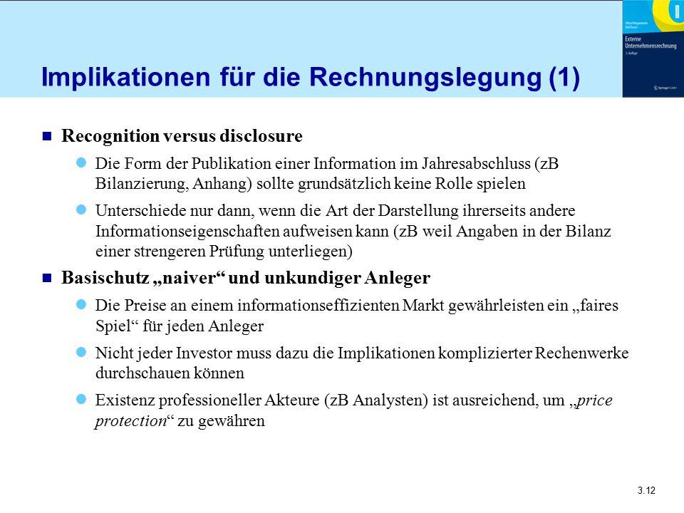 3.12 Implikationen für die Rechnungslegung (1) n Recognition versus disclosure Die Form der Publikation einer Information im Jahresabschluss (zB Bilan