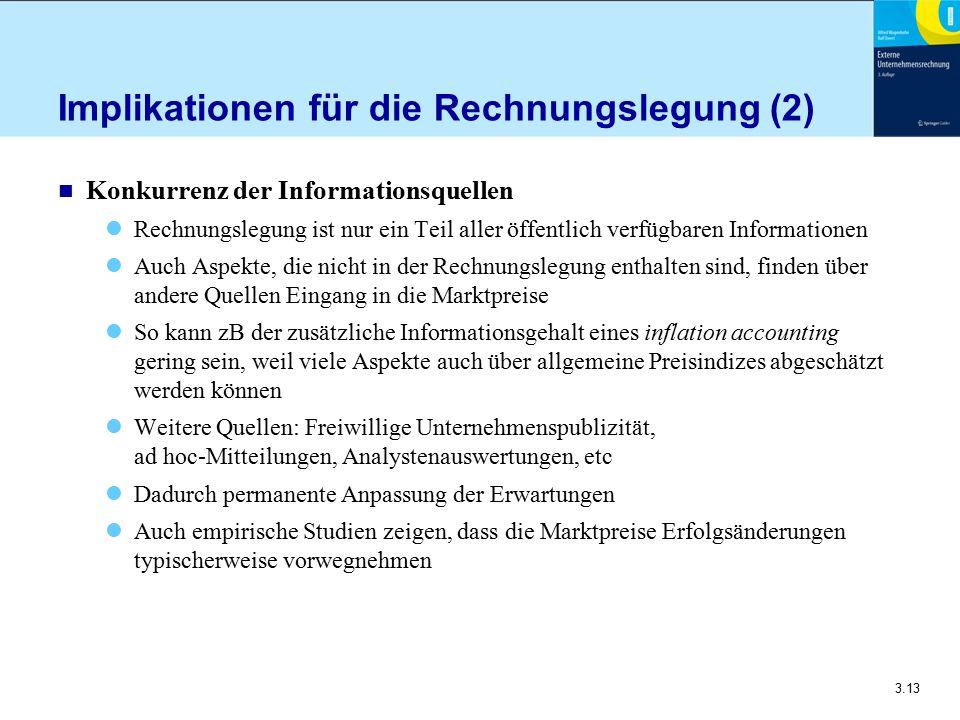 3.13 Implikationen für die Rechnungslegung (2) n Konkurrenz der Informationsquellen Rechnungslegung ist nur ein Teil aller öffentlich verfügbaren Info