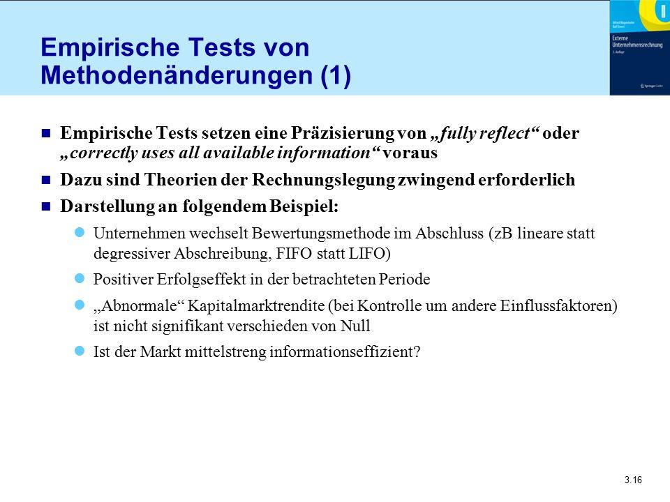 """3.16 Empirische Tests von Methodenänderungen (1) n Empirische Tests setzen eine Präzisierung von """"fully reflect"""" oder """"correctly uses all available in"""