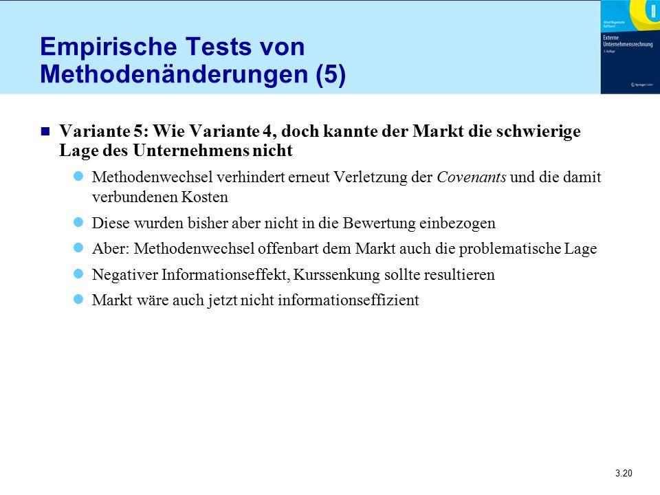 3.20 Empirische Tests von Methodenänderungen (5) n Variante 5: Wie Variante 4, doch kannte der Markt die schwierige Lage des Unternehmens nicht Method
