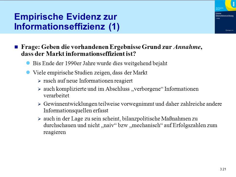 3.21 Empirische Evidenz zur Informationseffizienz (1) n Frage: Geben die vorhandenen Ergebnisse Grund zur Annahme, dass der Markt informationseffizien