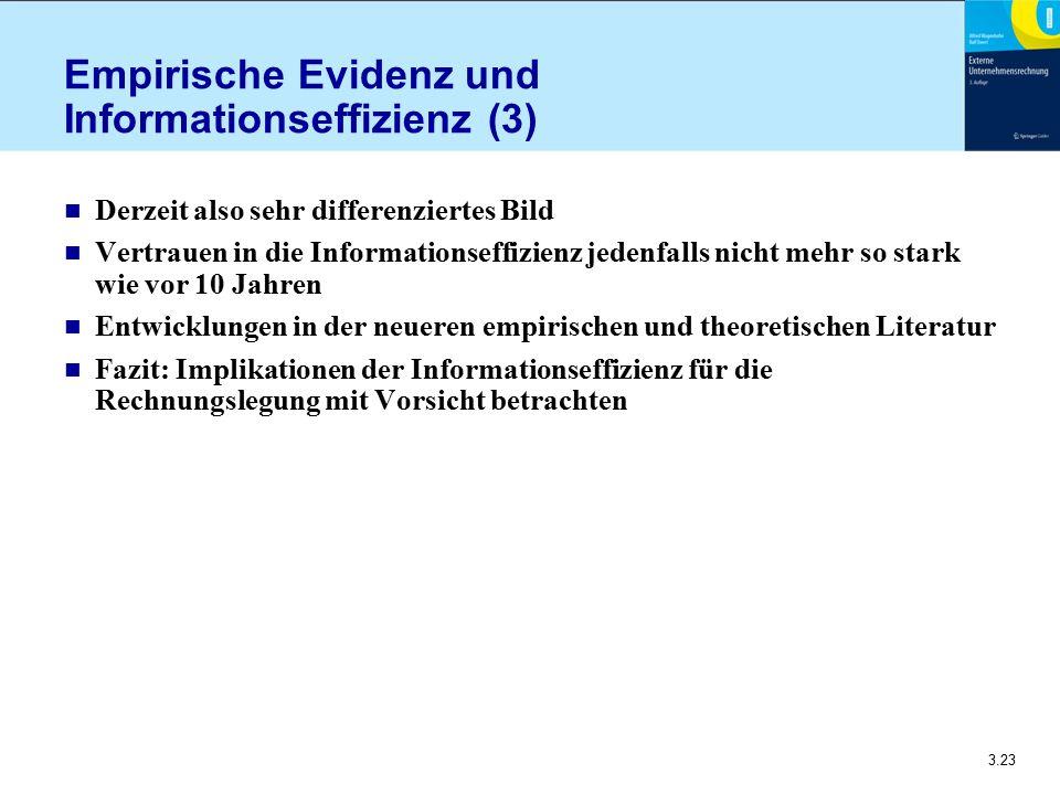 3.23 Empirische Evidenz und Informationseffizienz (3) n Derzeit also sehr differenziertes Bild n Vertrauen in die Informationseffizienz jedenfalls nic