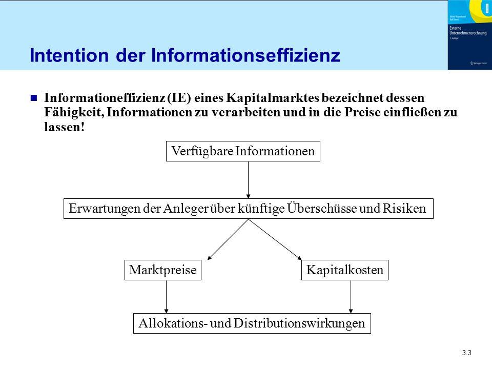 3.3 Intention der Informationseffizienz n Informationeffizienz (IE) eines Kapitalmarktes bezeichnet dessen Fähigkeit, Informationen zu verarbeiten und