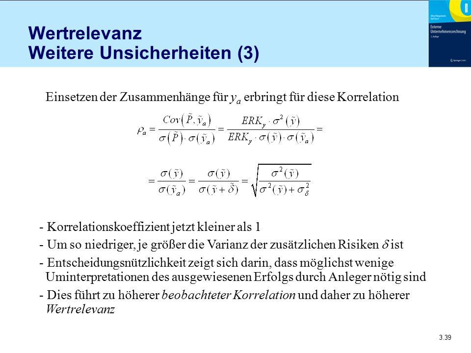 3.39 Wertrelevanz Weitere Unsicherheiten (3) Einsetzen der Zusammenhänge für y a erbringt für diese Korrelation - Korrelationskoeffizient jetzt kleine