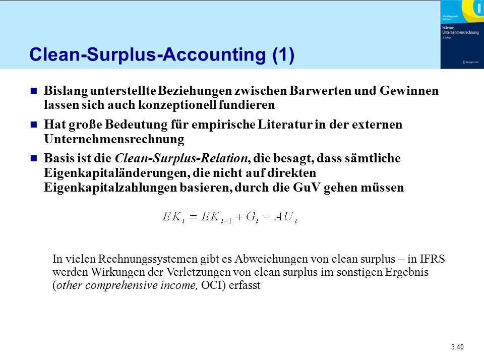 3.40 Clean-Surplus-Accounting (1) n Bislang unterstellte Beziehungen zwischen Barwerten und Gewinnen lassen sich auch konzeptionell fundieren n Hat gr