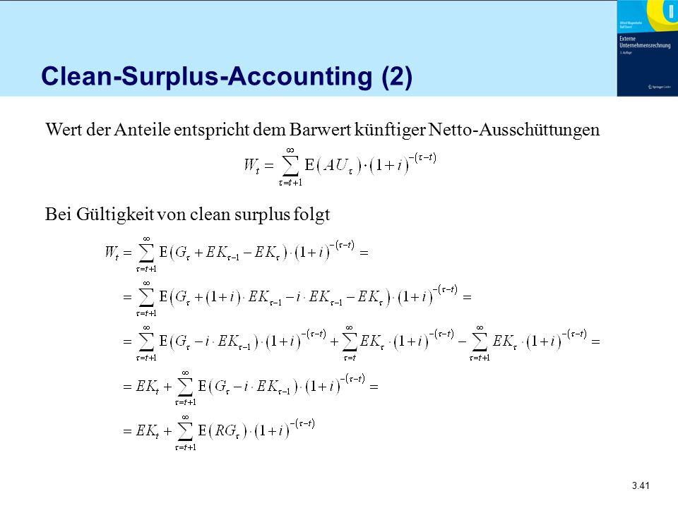 3.41 Clean-Surplus-Accounting (2) Wert der Anteile entspricht dem Barwert künftiger Netto-Ausschüttungen Bei Gültigkeit von clean surplus folgt