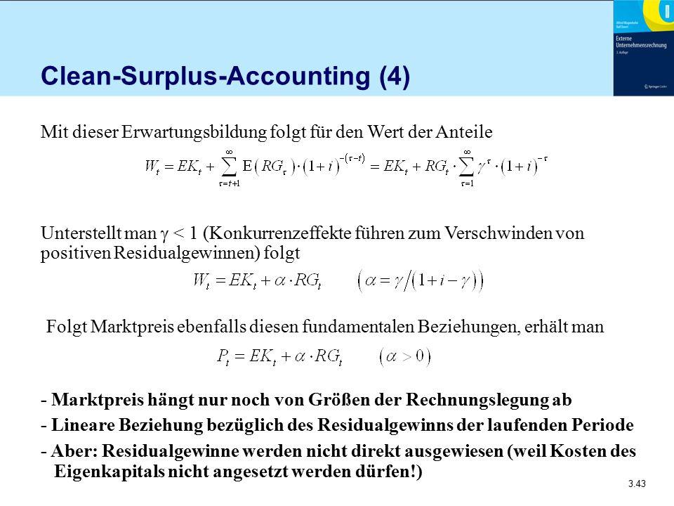 3.43 Clean-Surplus-Accounting (4) Mit dieser Erwartungsbildung folgt für den Wert der Anteile Unterstellt man  < 1 (Konkurrenzeffekte führen zum Vers
