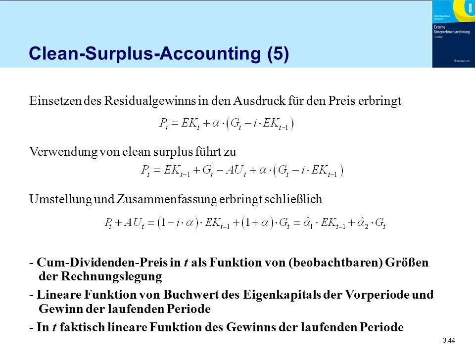 3.44 Clean-Surplus-Accounting (5) Einsetzen des Residualgewinns in den Ausdruck für den Preis erbringt Verwendung von clean surplus führt zu Umstellun