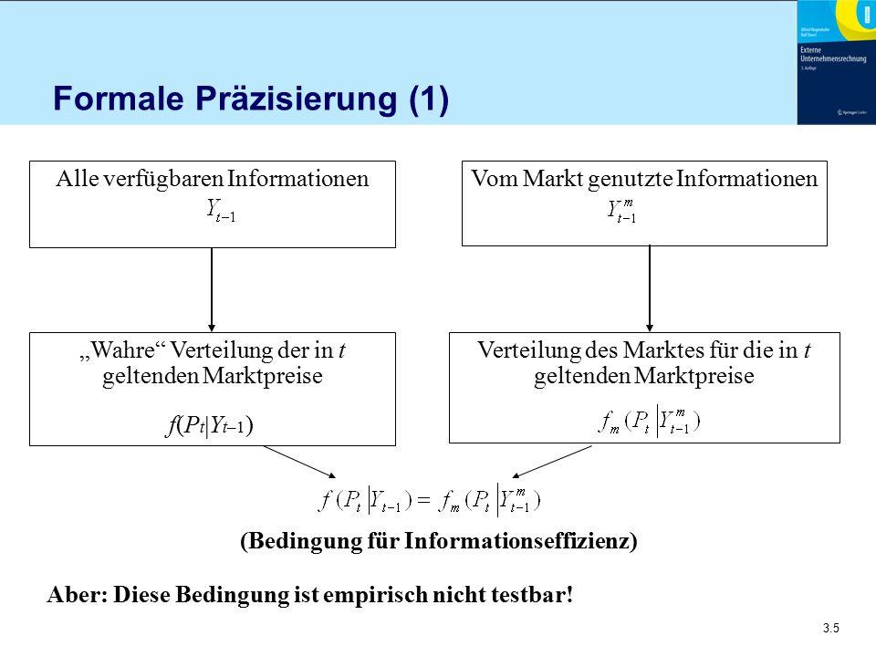 """3.5 Formale Präzisierung (1) Aber: Diese Bedingung ist empirisch nicht testbar! Alle verfügbaren Informationen """"Wahre"""" Verteilung der in t geltenden M"""