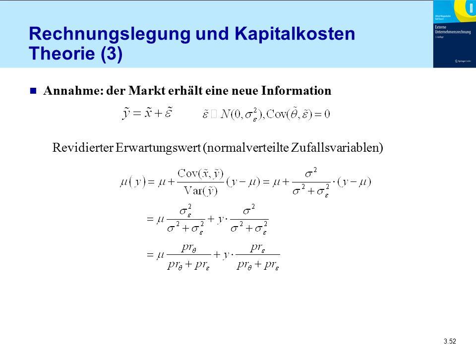 3.52 Rechnungslegung und Kapitalkosten Theorie (3) n Annahme: der Markt erhält eine neue Information Revidierter Erwartungswert (normalverteilte Zufal