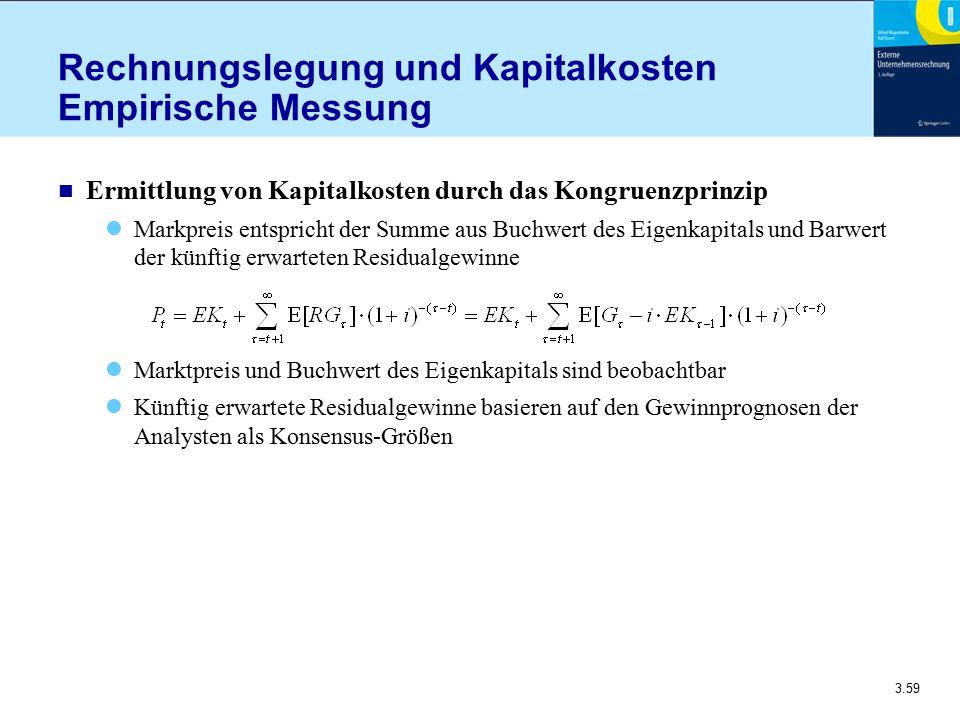 3.59 Rechnungslegung und Kapitalkosten Empirische Messung n Ermittlung von Kapitalkosten durch das Kongruenzprinzip Markpreis entspricht der Summe aus