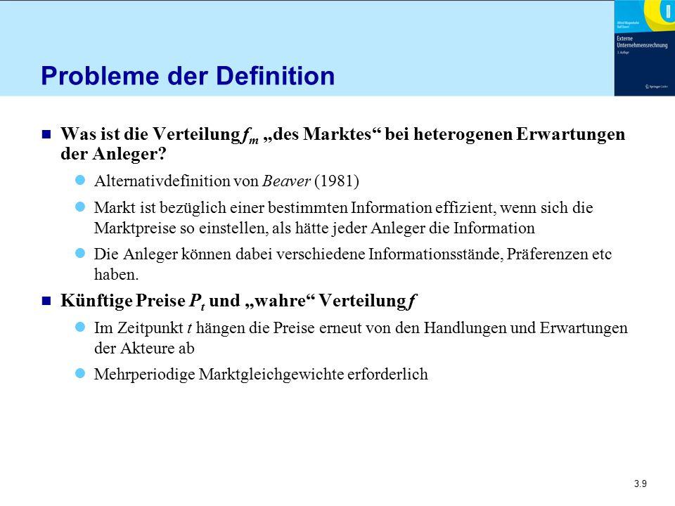 """3.9 Probleme der Definition n Was ist die Verteilung f m """"des Marktes"""" bei heterogenen Erwartungen der Anleger? Alternativdefinition von Beaver (1981)"""