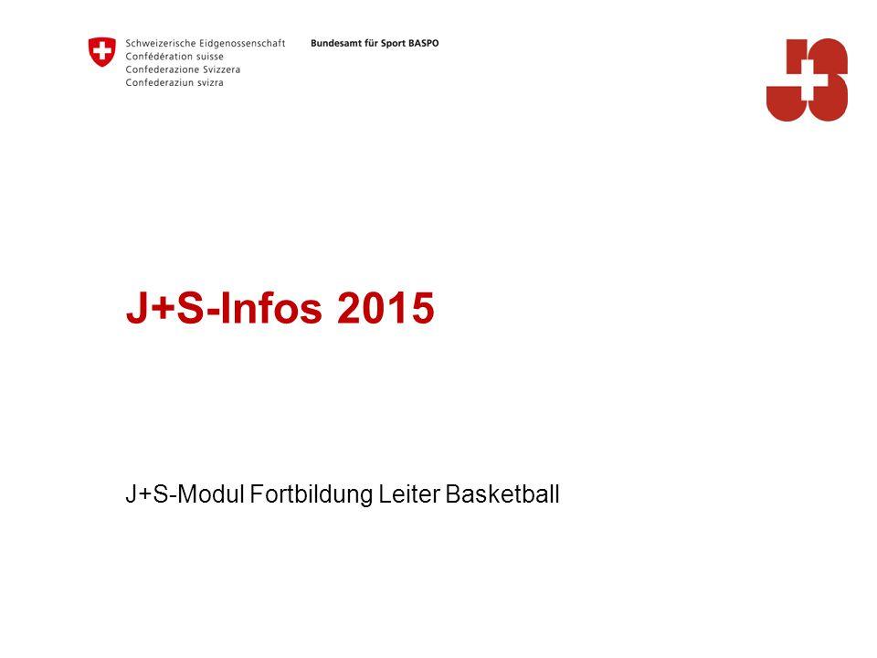 J+S-Infos 2015 J+S-Modul Fortbildung Leiter Basketball