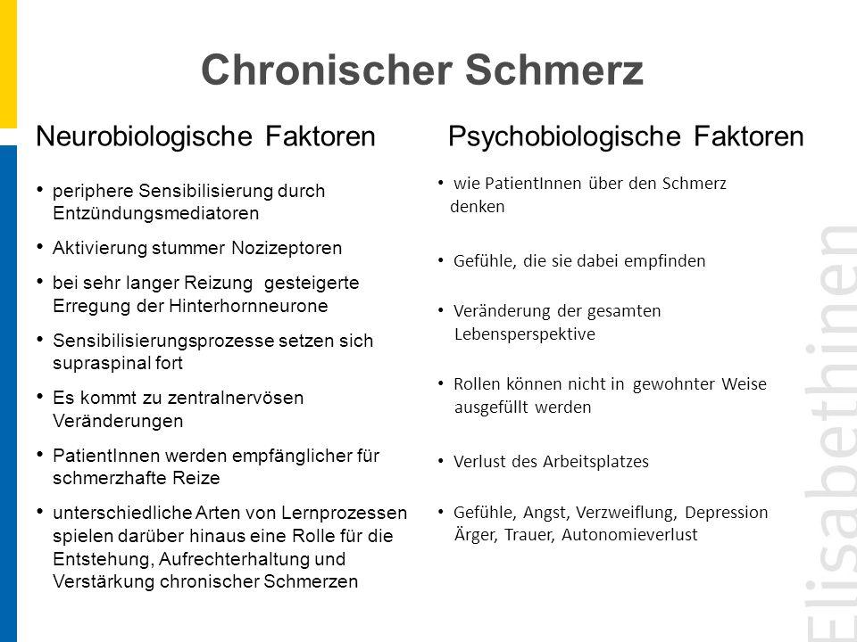 Chronischer Schmerz Neurobiologische Faktoren Psychobiologische Faktoren periphere Sensibilisierung durch Entzündungsmediatoren Aktivierung stummer No