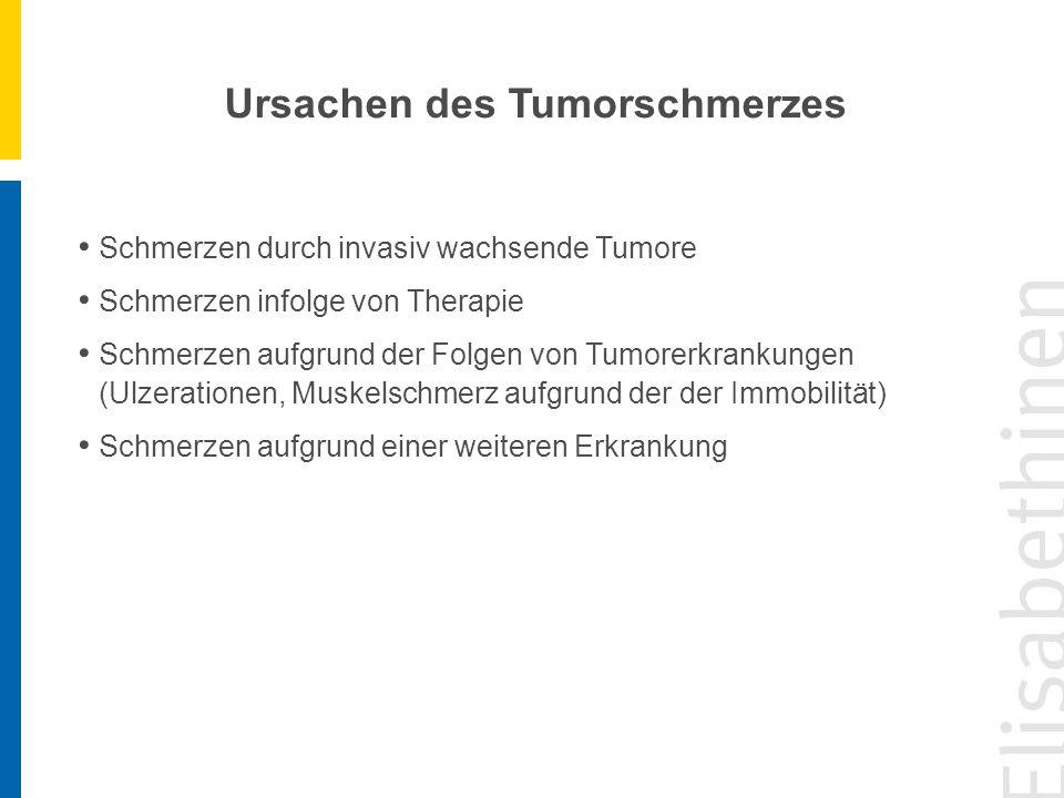 Ursachen des Tumorschmerzes Schmerzen durch invasiv wachsende Tumore Schmerzen infolge von Therapie Schmerzen aufgrund der Folgen von Tumorerkrankunge