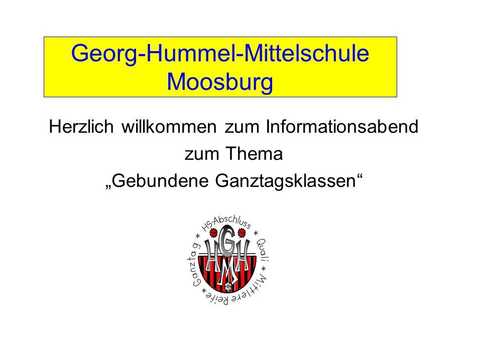 """Georg-Hummel-Mittelschule Moosburg Herzlich willkommen zum Informationsabend zum Thema """"Gebundene Ganztagsklassen"""""""